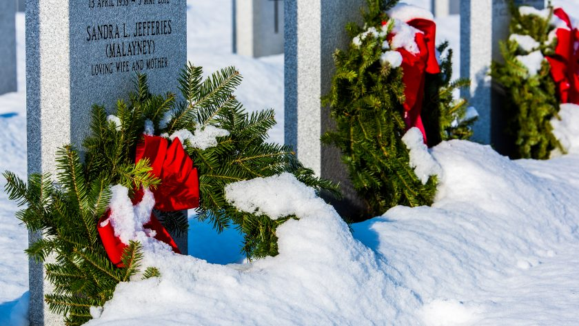 wreaths in the snow